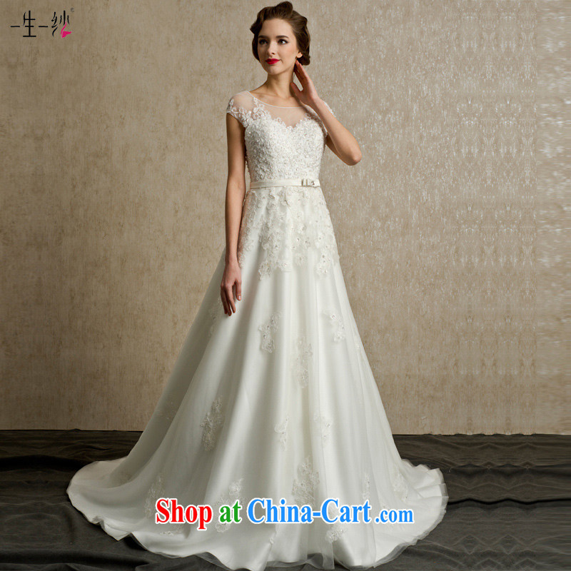 A yarn bridal wedding 2015 new parquet drill lace retro package shoulder beauty Butterfly Belt tail wedding FG 14,002 white XXL code 30 days pre-sale