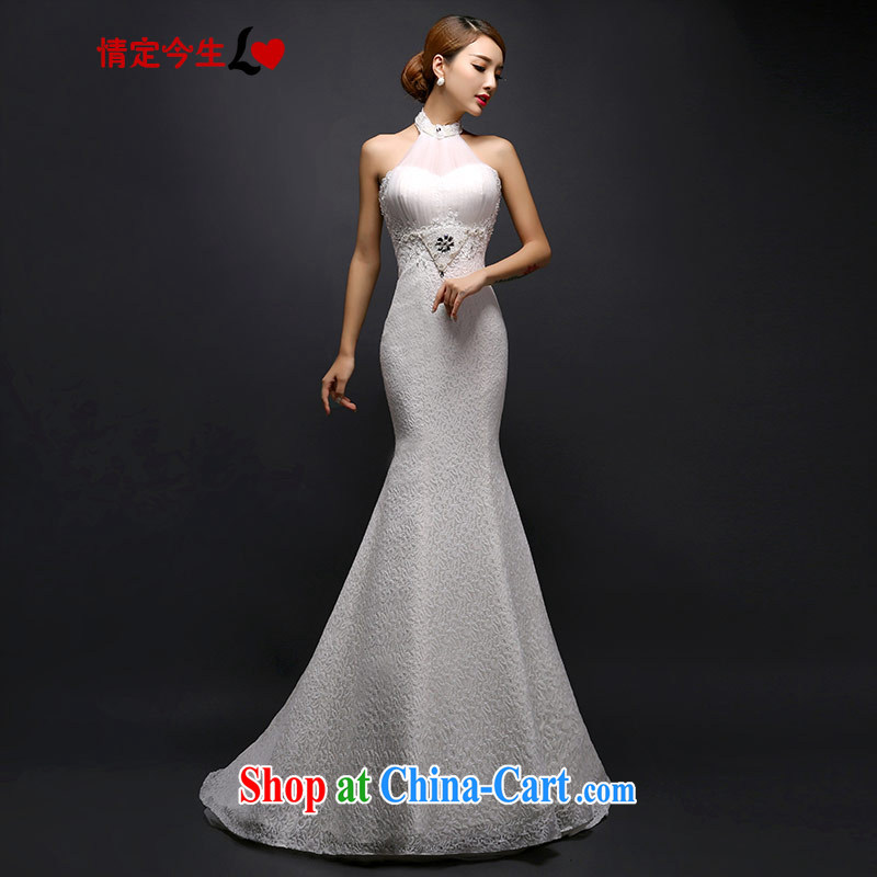 Love Life 2015 new wedding dress Korean fashion is also tail wedding lace-up waist straps cultivating crowsfoot white XS