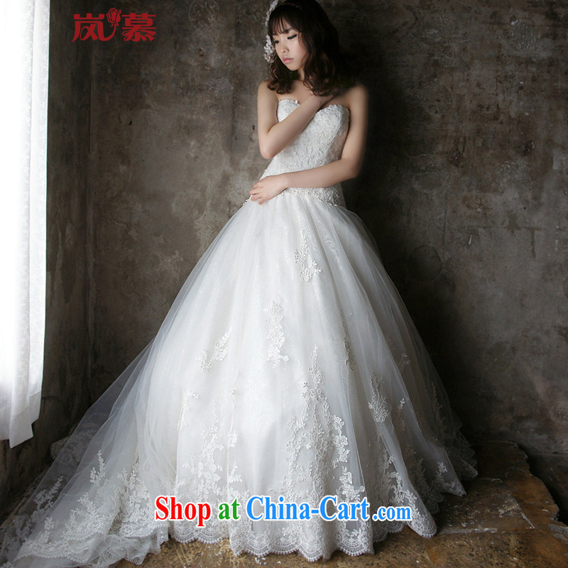 LAURELMARY sponsors the 2015 new Korean stylish and elegant heart-shaped bare chest lace-up waist graphics thin A swing-tail shaggy dress bridal wedding White (picture) Custom size (please contact Customer Service)
