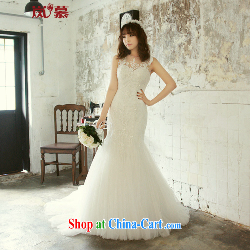LAURELMARY sponsors the 2015 new Korean elegant round-collar Lace Up waist beauty package and fantastic crowsfoot with trailing back exposed wedding ivory Custom size _please contact Customer Service_