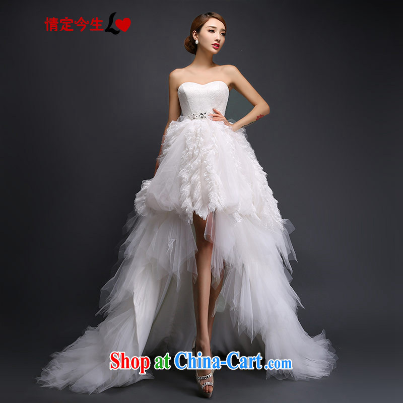 Love Life Korean sweet Princess tie wedding feather pregnant women short before long after the tail 2015 autumn and winter white L