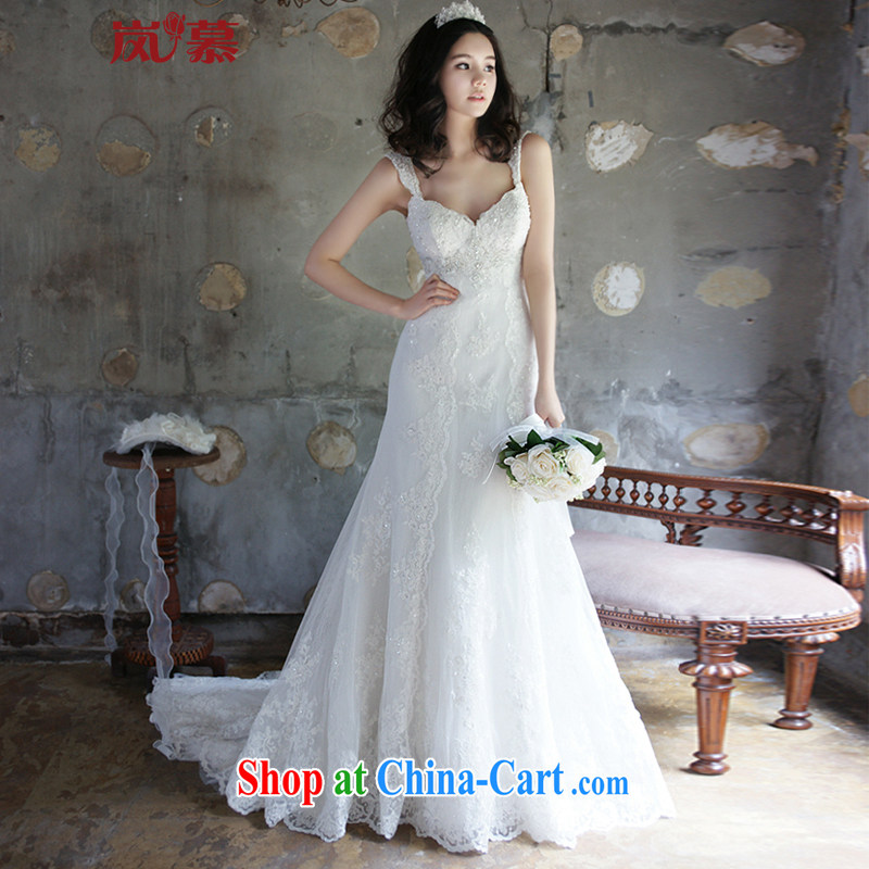 LAURELMARY sponsors the 2015 New American and European luxury double-shoulder-chest lace stitching seamless pearl-waist beauty with tail bridal wedding White (as shown) Custom size (please contact Customer Service)