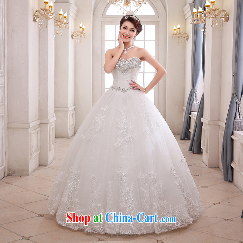 Hi Ka-hi wedding XS 01 2014 new Mary Magdalene chest Korean diamond wipe his chest to tie wedding ivory left size tailored