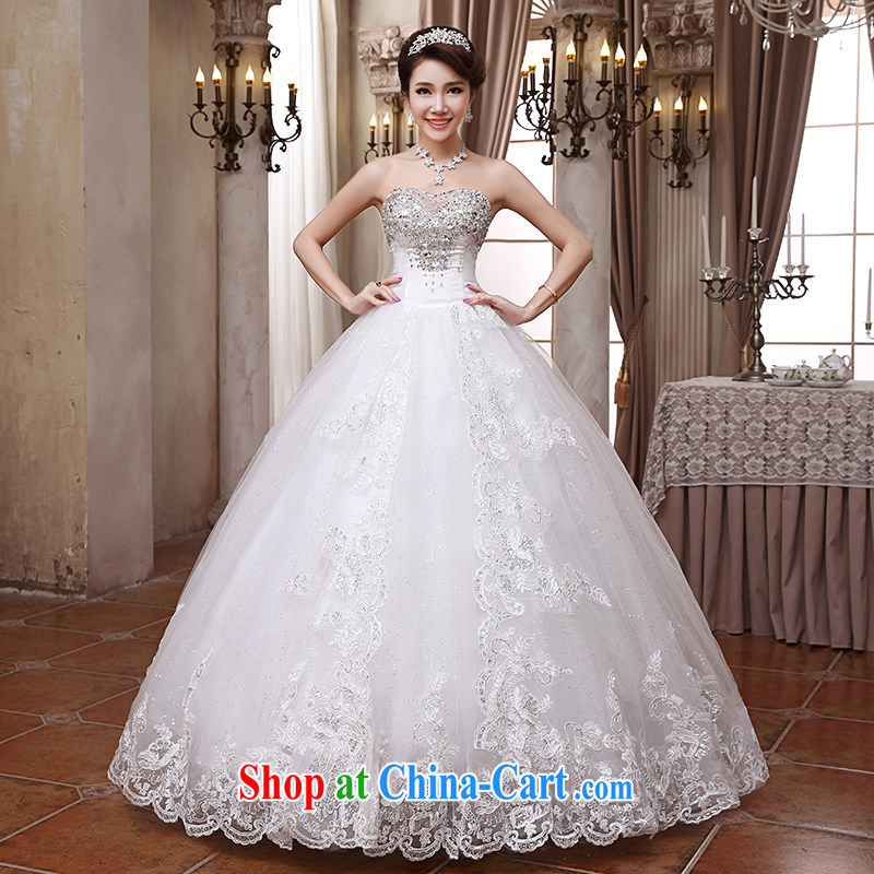 Hi Ka-hi wedding dresses 2014 new white Beauty Chest Mary Magdalene Korean diamond jewelry wiped his chest to tie wedding ivory left size tailored