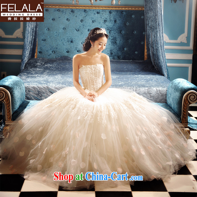 Ferrara in Europe with shaggy Princess a bare shoulders chest wedding dresses 2015 new retro wedding autumn and winter XL _2 feet 2_