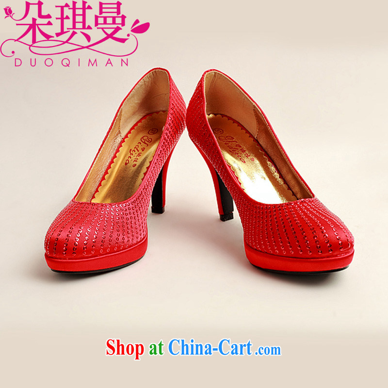Flower Angel Cayman Korean high-heel red wedding shoes large code marriage shoes bridal shoes 2014 new women shoes 39