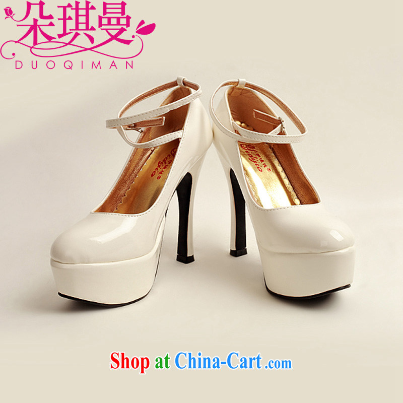 Flower Angel Cayman 2014 women shoes new varnished leather, smooth flash, deluxe waterproof single bridal shoes bridal shoes white, round-head high-heel shoes 39