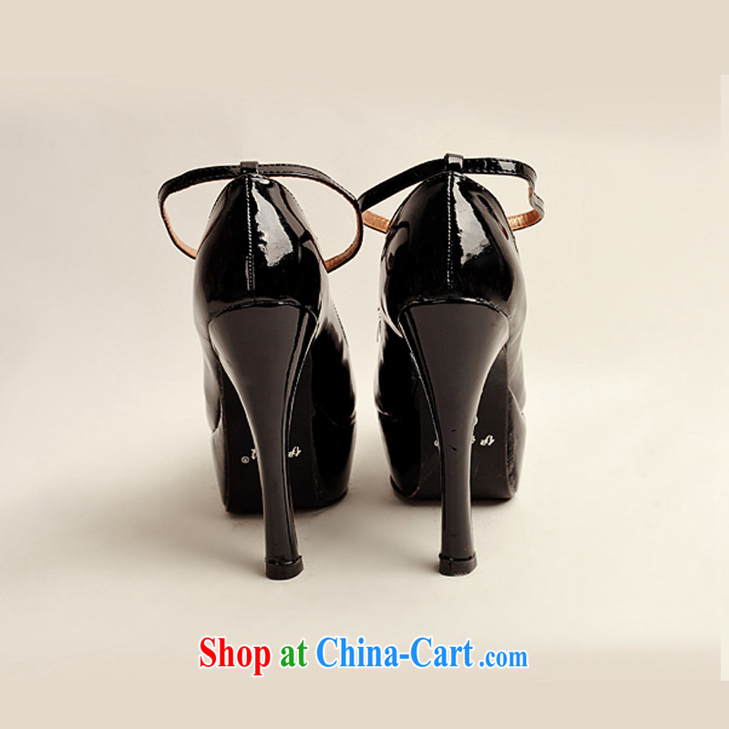 Flower Angel Cayman 2014 women shoes new varnished leather, smooth flash, deluxe waterproof single bridal shoes bridal shoes black, round-head high-heel shoes 39, flower Angel (DUOQIMAN), and, on-line shopping