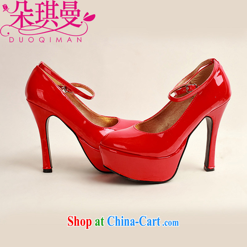 Flower Angel Cayman 2014 women shoes new varnished leather, smooth flash, deluxe waterproof single bridal shoes bridal shoes red, round-head high-heel shoes 39