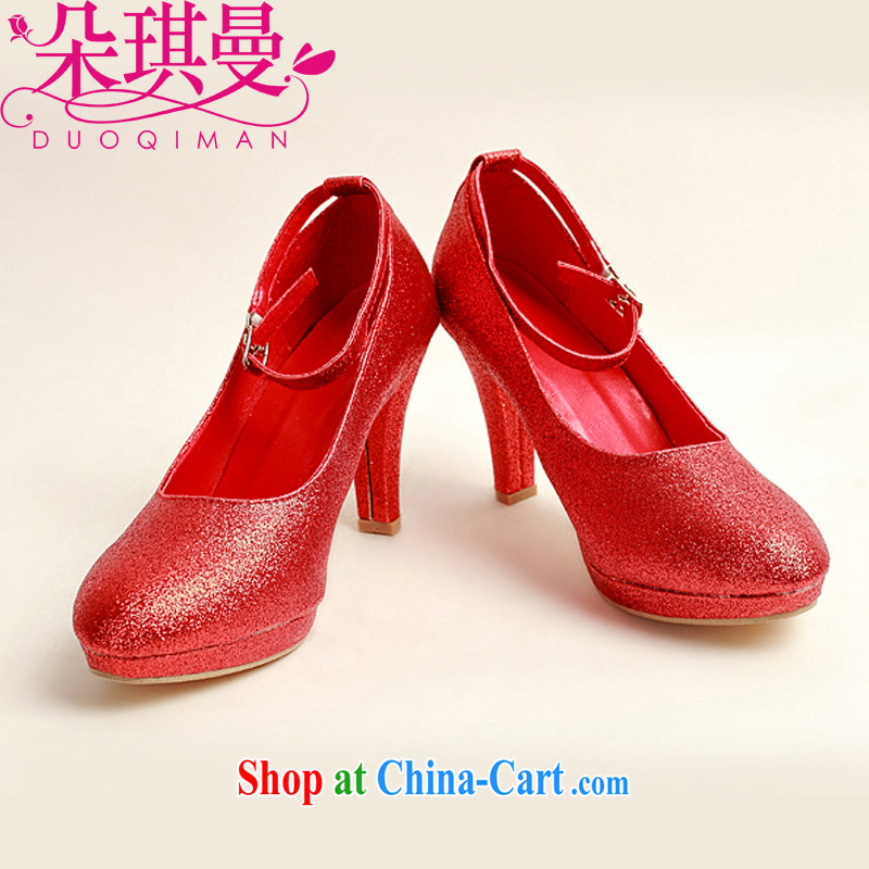 Flower Angel Cayman wedding shoes winter red high-heel shoes, 2014 new female Red high-heel shoes and thin with 39