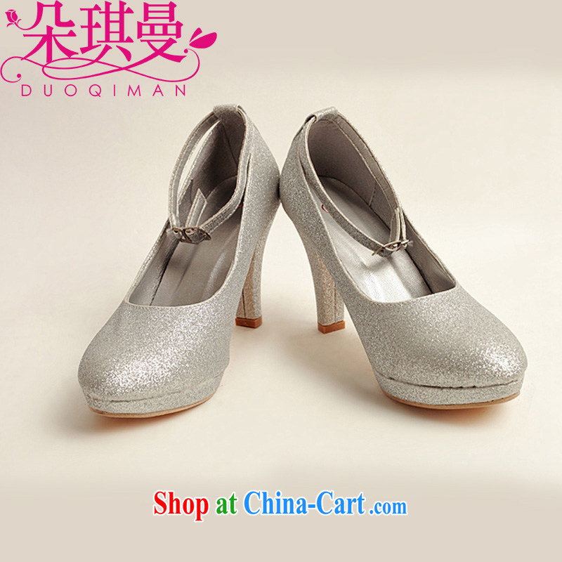 Flower Angel Cayman wedding shoes winter silver high-heel shoes, 2014 new women silver high-heel shoes with a silver 39