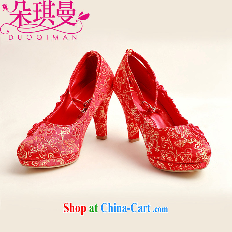 Flower Angel Cayman 2014 New floral wedding shoes wedding shoes bridal wedding shoes in bold with banquet shoes red high heel women shoes 39