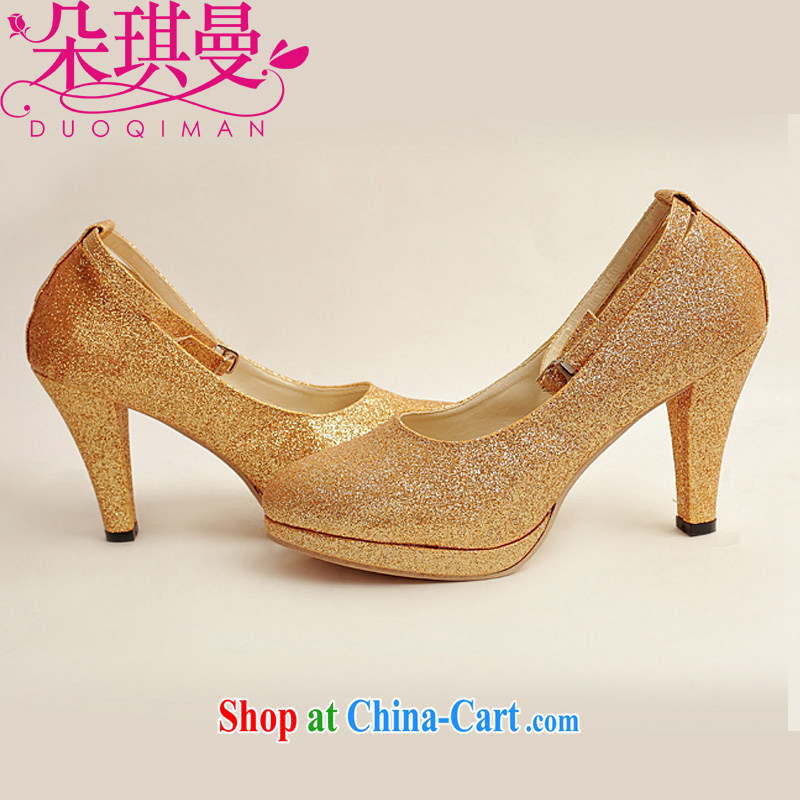 Flower Angel Cayman wedding shoes winter Gold high-heel shoes, 2014 new female gold high-heel shoes with fine gold 39