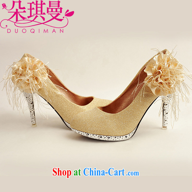 Flower Angel Cayman 2014 women shoes new, bridal shoes bridal shoes gold, round-head side flowers high-heel shoes gold 39