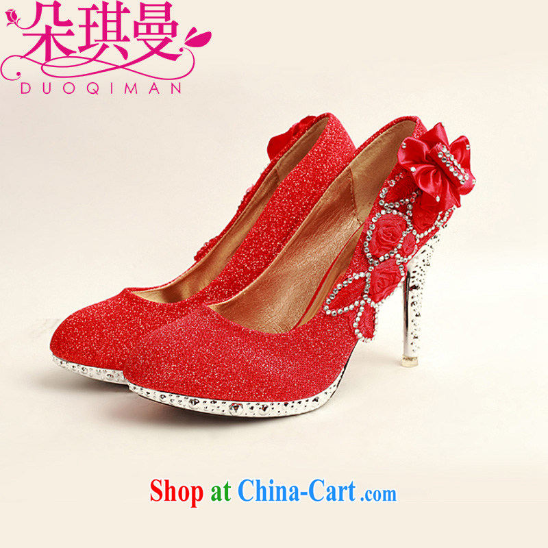 Flower Angel Cayman 2014 women shoes new, ultra-elegant water drilling bridal shoes bridal shoes red, round head high-heel shoes red 39