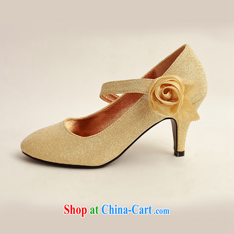 Dora's Angel Cayman gold light pink, and, with a single side gold roses bridal wedding shoes, wedding show photo shoes gold 39, flower Angel (DUOQIMAN), and shopping on the Internet