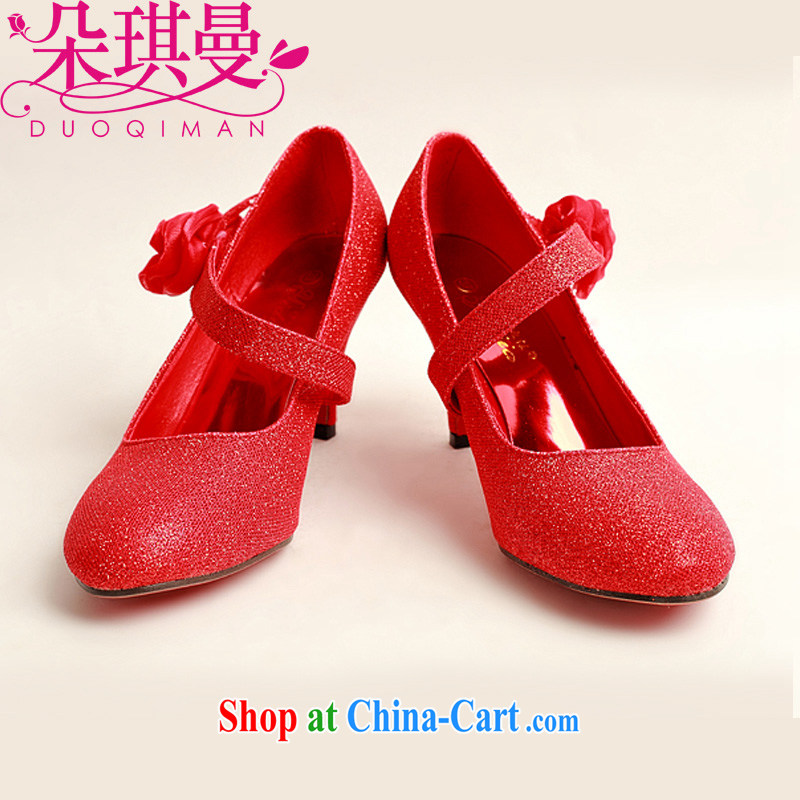 Flower Angel, new, red powder, single side red roses bridal wedding shoes, wedding show photo shoes red 39