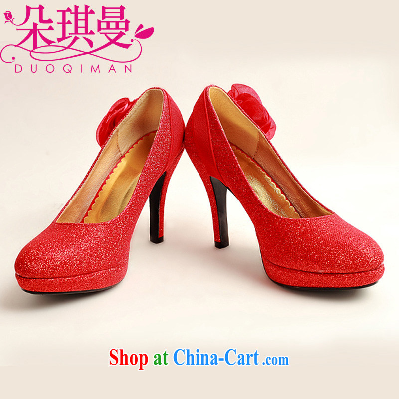 Flower Angel Cayman Korean version with Red Gold wedding shoes large code marriage shoes bridal shoes 2014 women shoes red 39