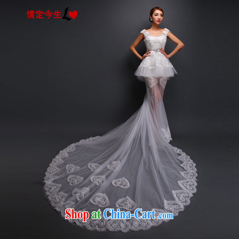 Love Life Korean version the Field shoulder lace wedding dresses autumn graphics thin-tail stylish white made for a