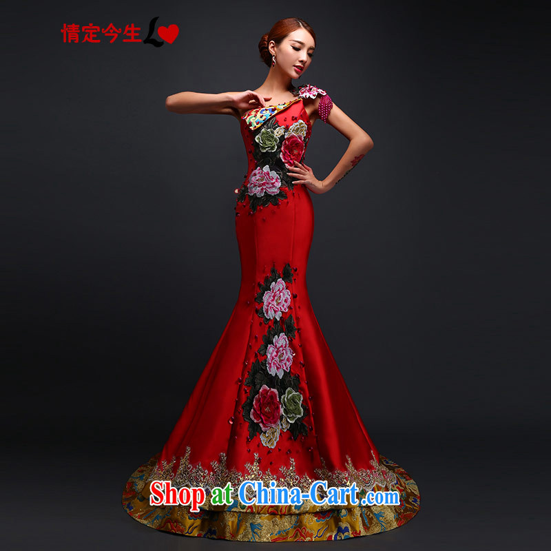 Love Life retro embroidered dragon robe dress single shoulder cultivating crowsfoot dress marriages, long-tail bows service wedding red S