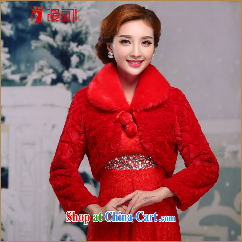 Definition 2015 early autumn and winter new bridal wedding dresses hair shawl red long-sleeved married the shoulder small jacket female Red