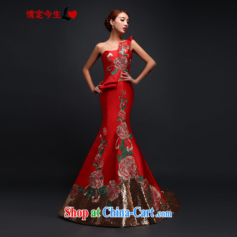 Love Life 2015 new bride toast clothing retro embroidery cultivating crowsfoot, tail dress upscale long wedding dress evening dress wedding red XXL