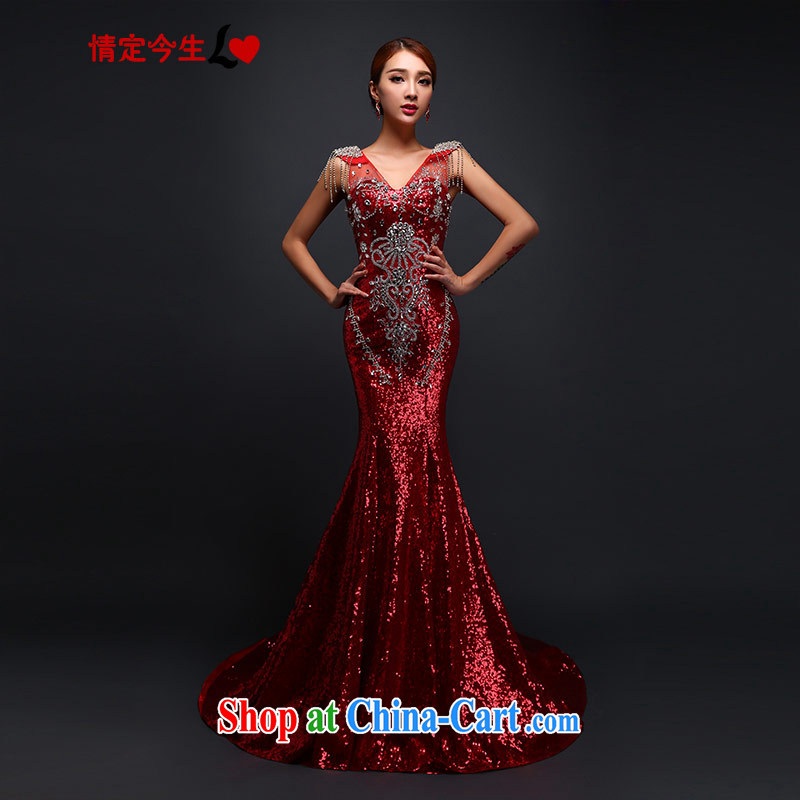 Love Of The Life 2015 new bride's toast serving light, drag and drop at Merlion last autumn and winter, new dress wedding V for wood drilling red made for a