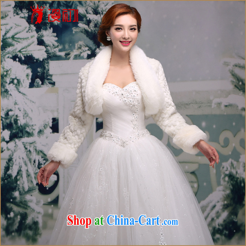 Early definition 2015 bride's wedding shawl dresses long sleeved warm wedding dress small jacket autumn and winter bridesmaid hair shawl white
