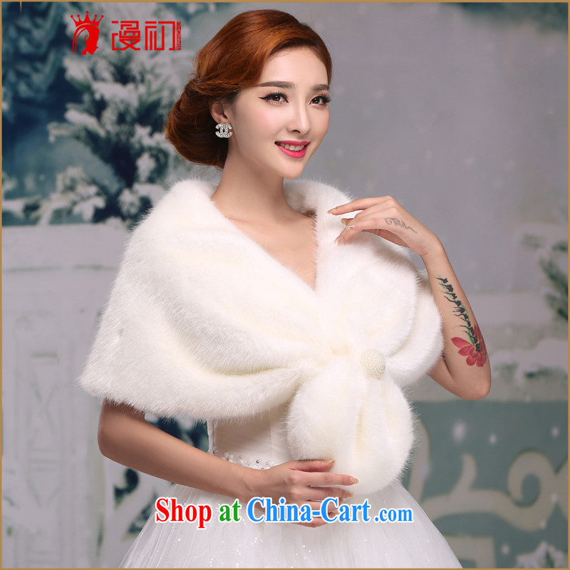 Early definition bridal wedding dresses red white plush Korean bridesmaid wedding short wedding warm autumn and winter hair shawl white