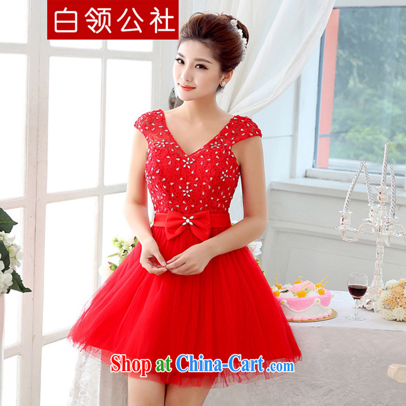 White-collar Corporation 2015 marriages shoulders red short dress style package shoulder bows service beauty bridesmaid clothing red S