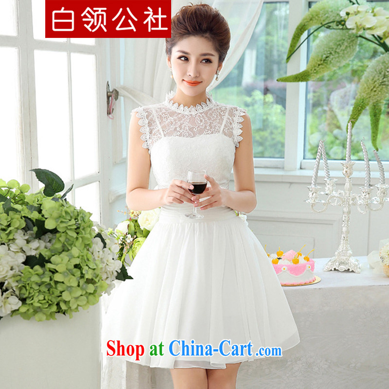 White-collar Corporation bridesmaid dress 2015 new upscale lace sleeveless small dress bride toast wedding dress bridesmaid clothing white S