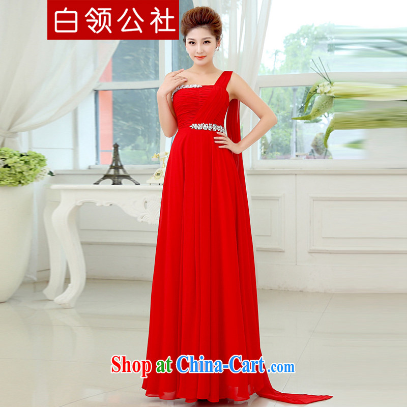 White-collar Corporation red evening dress 2015 new wedding dress single shoulder line serving toast cultivating tail, bridal wedding dress red S
