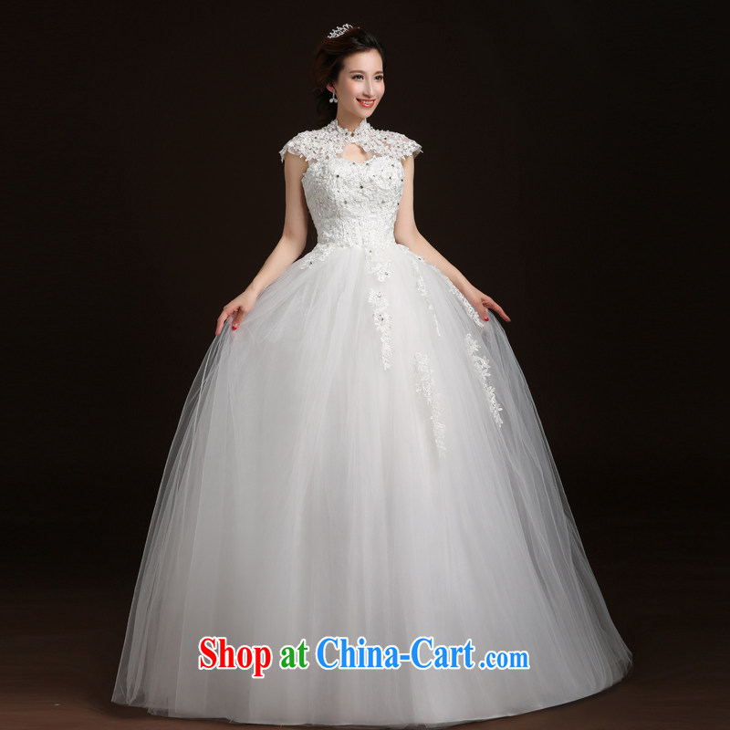 Qi wei wedding dresses new, summer 2015 new Korean marriages and stylish dual-shoulder lace field shoulder wedding dress strap graphics thin wedding white XL