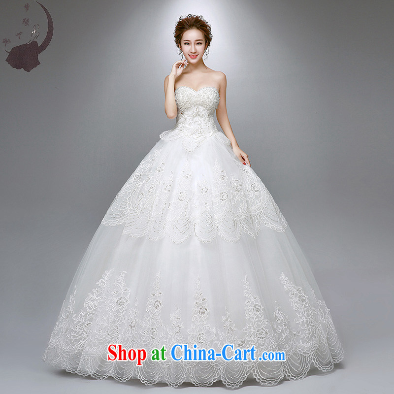 Dream of the day wedding dresses 2015 new Japan-ROK lace with wedding dress 1756 white M 2.0 feet waist
