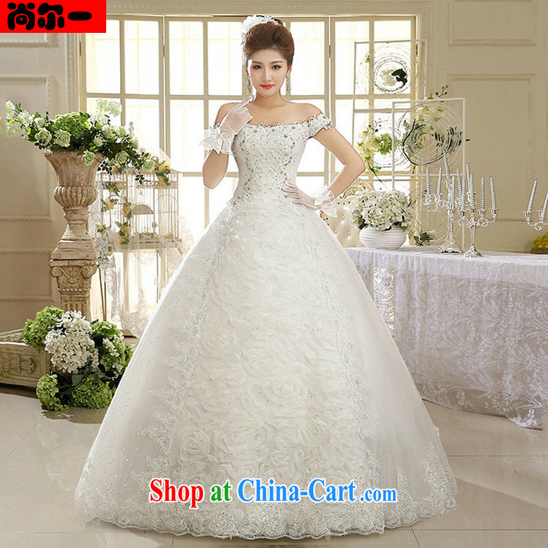 There is a white dress wedding dresses Korean field shoulder retro lace, 1011 XS white M