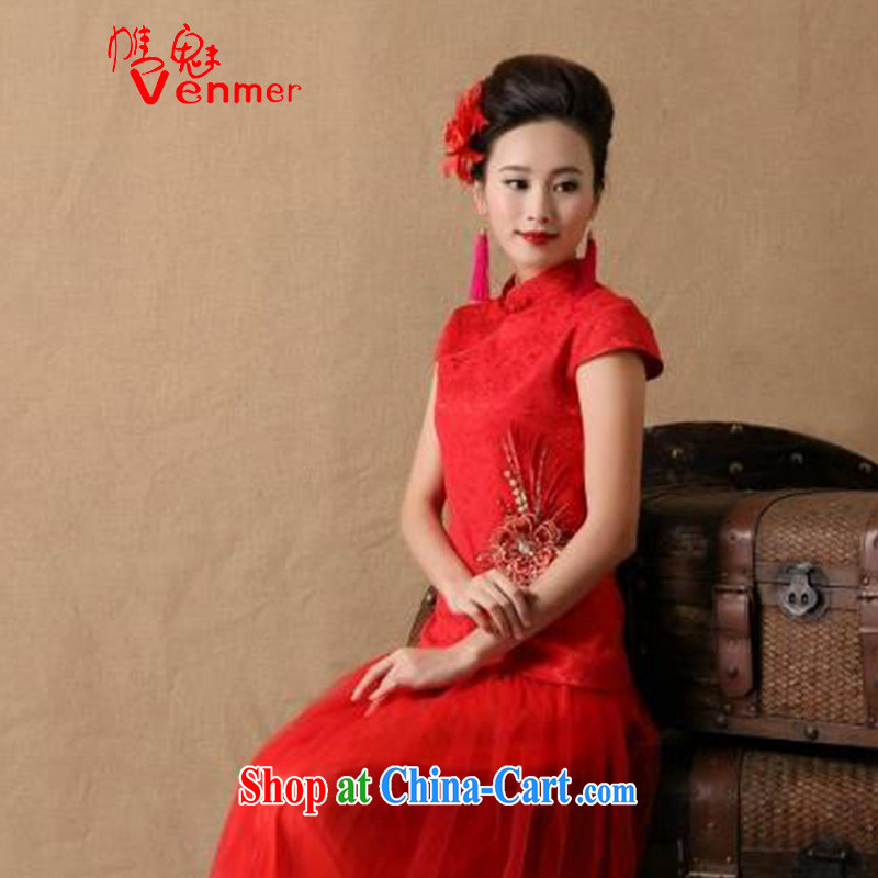Venmer director, autumn and winter new stylish female bride marriage ceremony cheongsam dress red bows, dress style 6646 red L