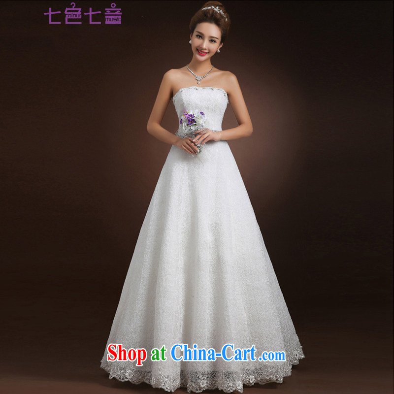 7-Color 7 tone new 2015 stylish and simple A with the waist lace graphics thin strap beauty with bare chest, wedding dresses H 045 white L