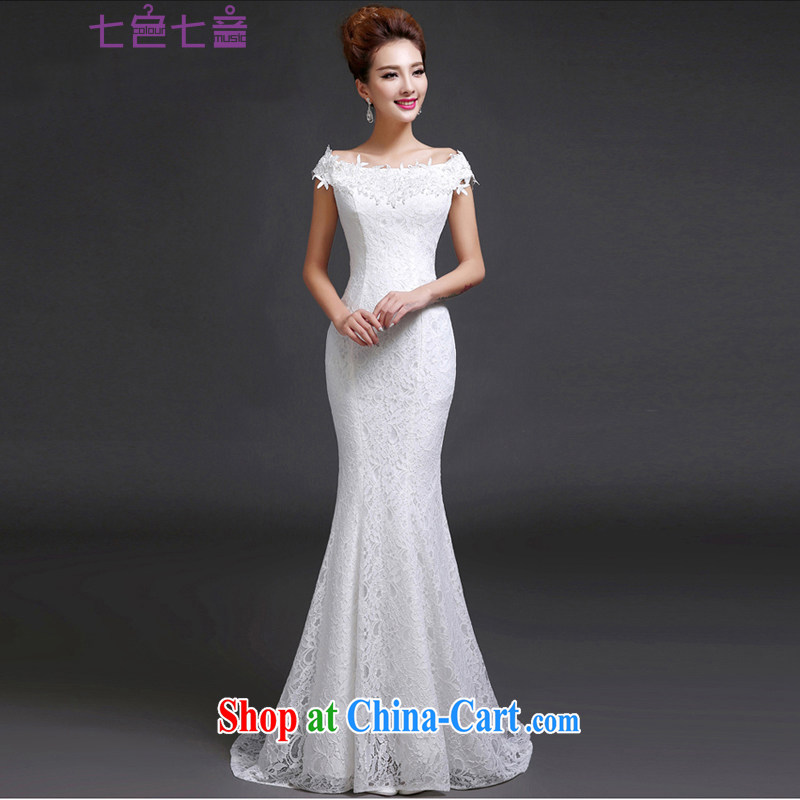 7-Color 7 tone Korean version 2015 new stylish a Field shoulder crowsfoot graphics thin lace retro the code strap bridal wedding dresses H 046 white L