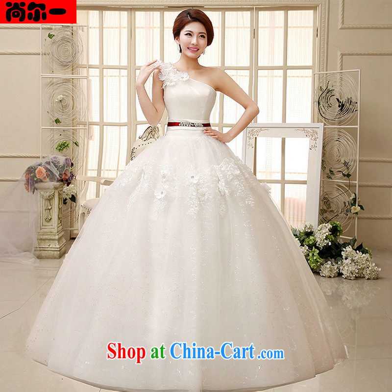 There's a wedding dresses, shoulder shaggy dress small-xin stylish manual flowers with wedding XS 1020 white XXL