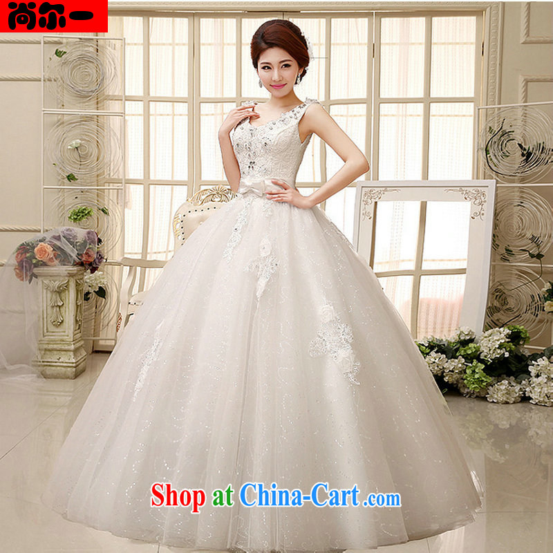 There is a stylish high water-soluble lace the drill-shoulders V collar bridal wedding dresses XS 1018 white XXL