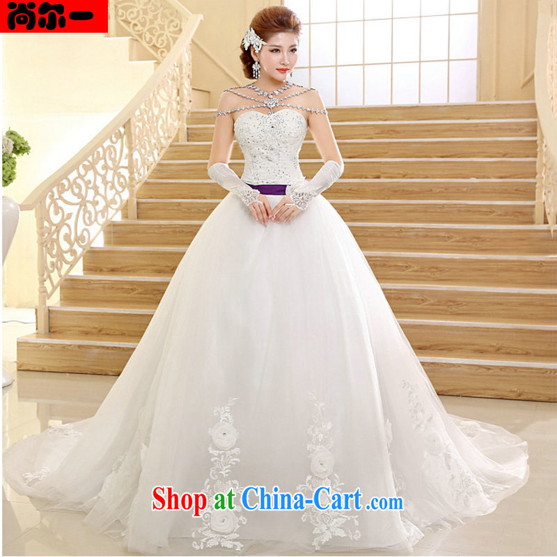 There is a Korean Style New High-waist bridal tail wedding V Mary Magdalene for chest strap dress XS 1016 white XXL