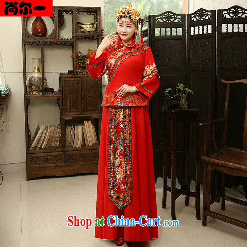 There's a retro improved Chinese wedding wedding dress bride married Yi bows clothing XS 1015 red L