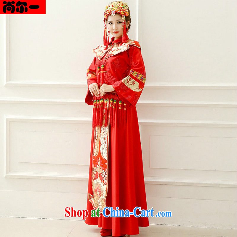 There is a bride's dress red Chinese Antique toast serving marriage long-sleeved Chinese Soo Wo service pregnant women to wear XS 1013 red L