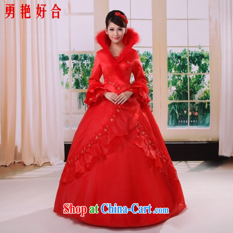 Yong stunning and elegant atmosphere, 2015 winter clothes quilted wedding dresses long sleeved winter, wedding dresses red 4026 Red. size is not returned.