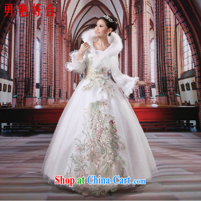 Yong-yan and 2015 new autumn and winter wedding dresses winter long-sleeved wool for the winter clothes wedding warm wedding dresses 4014 white custom size is not returned.