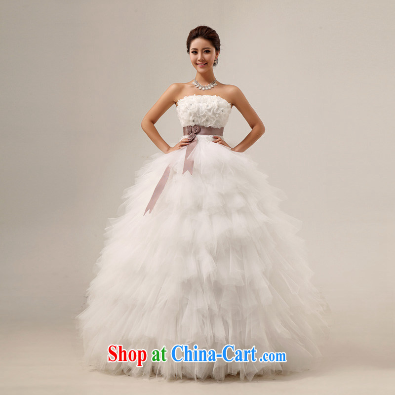 A good service is a new 2015 sweet wiped his chest Princess flowers with strap shaggy wedding dresses hotel white XL