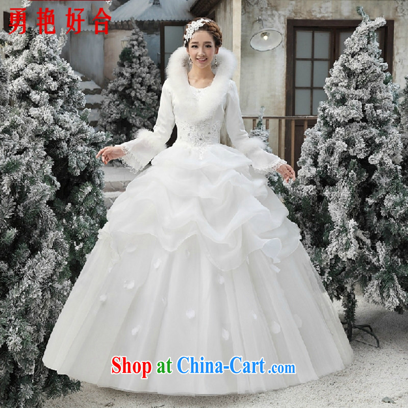 Yong-yan and wedding winter clothes 2015 new Korean wedding winter long-sleeved wool collar thick winter, cotton wedding white. size is not returned.