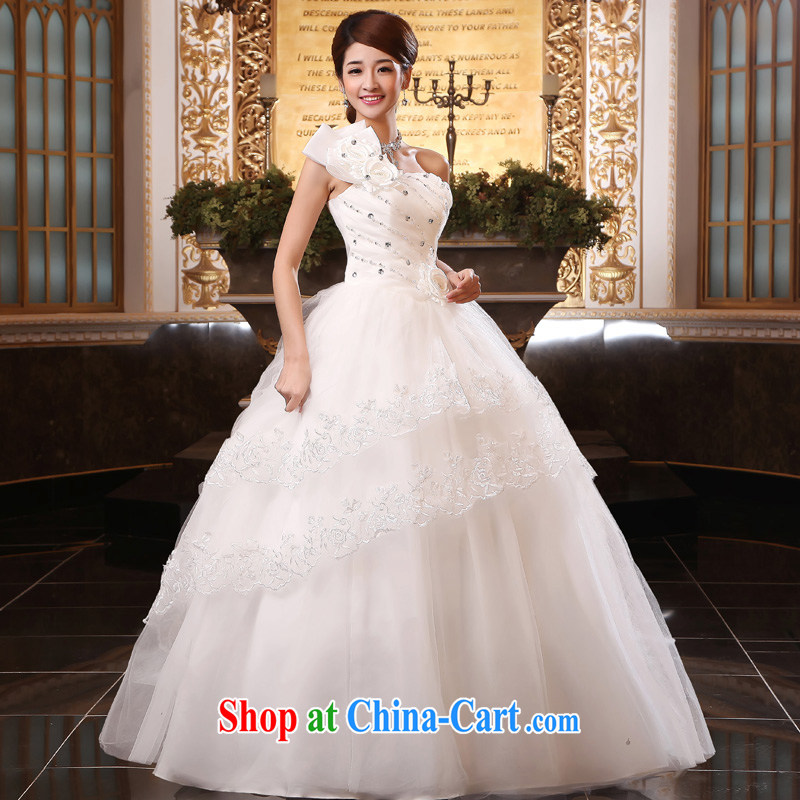 A good service is 2015 new bride single shoulder wedding dresses Princess sweet shaggy with larger custom white XL