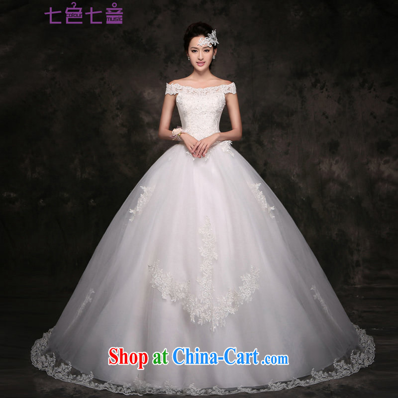 7 color 7 tone Korean version 2015 new wedding dresses video thin the Field shoulder lace tail marriages go nowhere yarn H 049 white with S