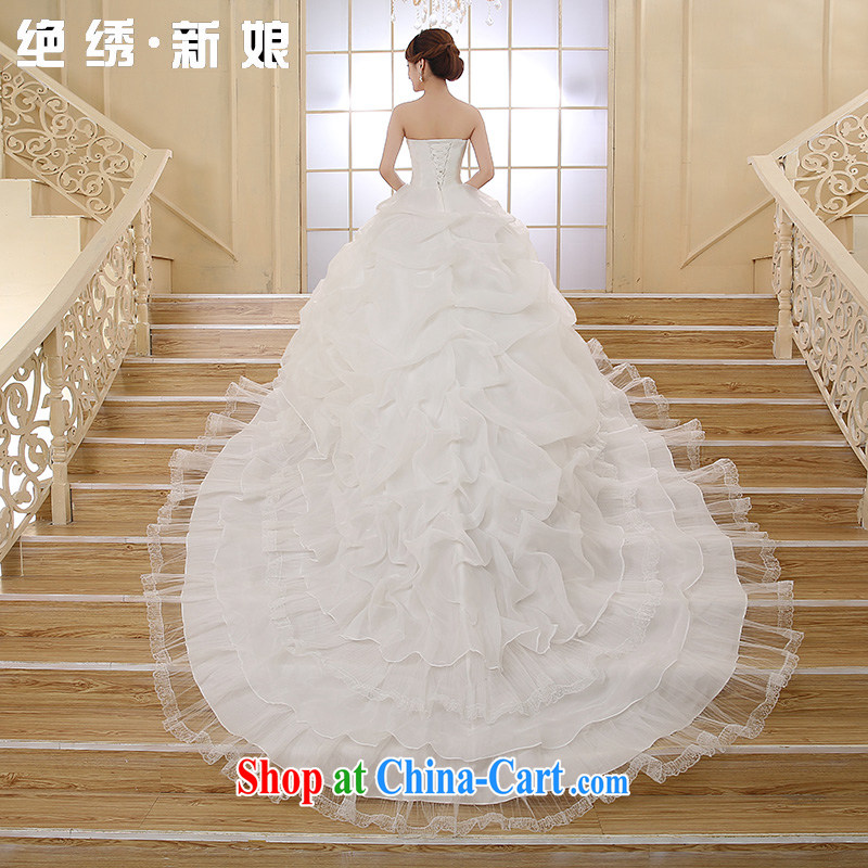 There is embroidery bridal 2015 new erase chest Korean marriage video thin with stylish tie-down the tail wedding white tailored final